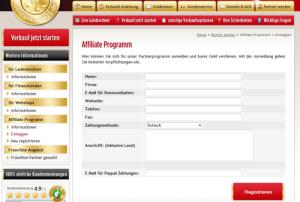 Anmeldung Goldankauf Partnerprogramm
